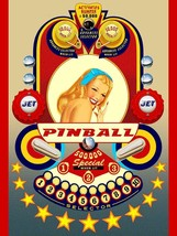 Pinball Retro Pin Up Metal Sign by Terry Pastor - $30.00