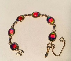 Vintage 1970's Sarah Coventry Rainbow Glass Cabochon Link Bracelet - $13.27