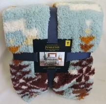 "Pendleton Avra Valley Aztec Twin Sherpa Fleece Teal Blanket 66"" x 92"" NWT - $79.19"