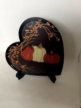Wood Pumpkins n Pip Berries Heart Shaped Plaque with  Stand New Halloween - $9.49