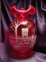 Fenton Ruby Art Glass Hand Painted Vase Serene Winter Signed S Stephens - $81.68