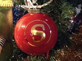 Letter S in Gold on Red Ceramic Monogram Ornament