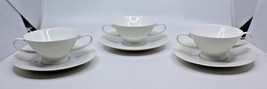 Rosenthal Germany Continental Classic Modern White Soup Bowl Cup Plates Set of 3 - $55.01
