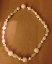 Vintage 1950s Austrian Iridescent White Aurora Borealis Bead Clip Clasp Necklace - $34.94