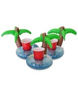 Palm Tree Pool Drink Holder Inflatable Palm Island 3 Pack Float Beer Tub... - $17.54