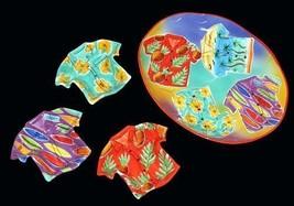 4 Pc Bright Hawaiian Shirts Huge Platter & 3 Bowls Hibiscus Surfboards Pineapple - $69.99