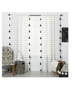 1 Contrast Stripe Light Filtering Curtain Panel w/ Tassels White Black O... - $27.71