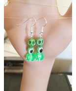 evil eye green sugar skull dice earrings dangles halloween day of the de... - $5.99