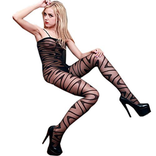 Black Temptation[Zebra] Ultrathin Sheer Velvet Body Stocking Thigh High (Asian M