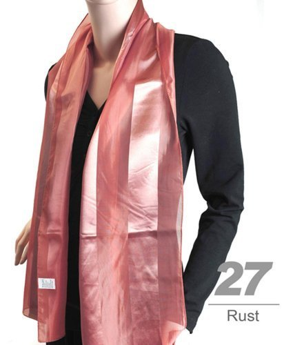Women's Rust Striped Sheer Polyester Satin Scarf SPS1301