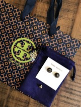 TORY BURCH Melodie Gold Plated NAVY Monogram Earrings Velvet Pouch + Gift Bag  - $42.79