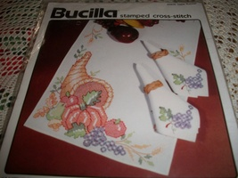 Autumn Harvest Stamped Cross Stitch Table Runner or Set of 8 Napkins Kit - $20.00