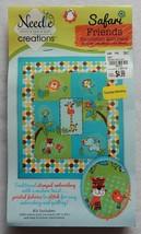 "NEW Needle Creations Safari Friends 34"" x 40"" Embroidery Quilt Panel NIP - $12.99"