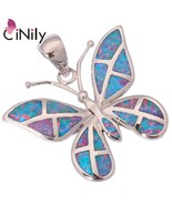 Rainbow Fire Opal Silver Plated Pendant Wholesale Retail Butterfly for W... - $16.76