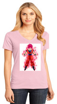 Goku Transformation District Made Ladies Perfect V-Neck T-Shirt Size XS To 4XL - $19.99+