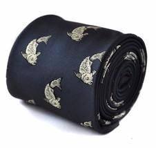 Frederick Thomas navy tie with koi carp tattoo embroidered design FT1535