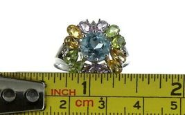Vintage Ladies Size 8.25 Sterling Silver Multi Color Halo Ring No. 2141 image 7