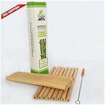 12Pcs 8'' Reusable Bamboo Drinking Straws w/ Brush Natural Wooden Straws... - $15.50 CAD