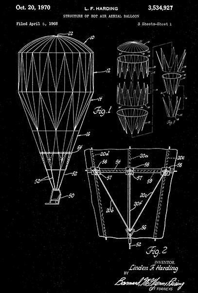 Primary image for 1970 - Hot Air Balloon - L. F. Harding - Patent Art Poster