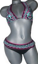NWT BECCA Rebecca Virtue S bikini swimsuit 2pc triangle slide halter hip... - $64.01