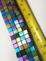 "6mm Rainbow Magnetic Hematite Square Cube Beads 15.5"" Strand image 2"