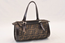 FENDI Zucca Canvas Hand Bag Pouch Black Brown Auth ar1014 - $598.00