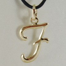 18K YELLOW GOLD PENDANT CHARM INITIAL LETTER F, MADE IN ITALY 1.0 INCHES, 25 MM image 1