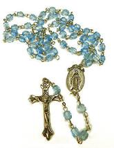 "Vintage Light Blue Beaded Plastic & Metal Pray For Us Rosary Beads 20"" - $9.65"