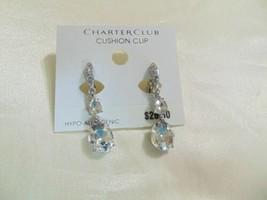 "Charter Club  1-1/2"" Silver Tone Crystal Dangle Drop Earrings E490 $26 - $12.47"