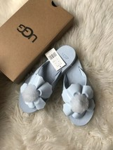 New Ugg Poppy Sky Blue Flip Flops Pom Pom Women's Flat Sandals Size Us 9/UK 7.5 - $39.60