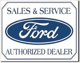 Ford Sales & Service Car Dealer Logo Retro Weathered Wall Decor Metal Tin Sign - $15.99