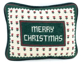 Vintage Needlepoint Holiday Accent Pillow Merry Christmas Farmhouse Coun... - $35.99