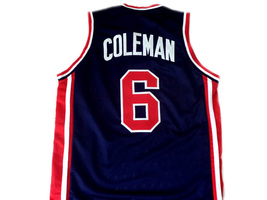 Derrick Coleman #6 Team USA Men Basketball Jersey Navy Blue Any Size image 2