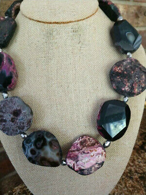 HANDMADE ROUGH ROCK  POLISHED BLACK PINK GRAY AGATE NUGGETS STATEMENT NECKLACE