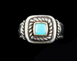 Vintage Carolyn Pollack Sterling Silver 14k Twisted Rope Turquoise Ring 7 - €125,90 EUR