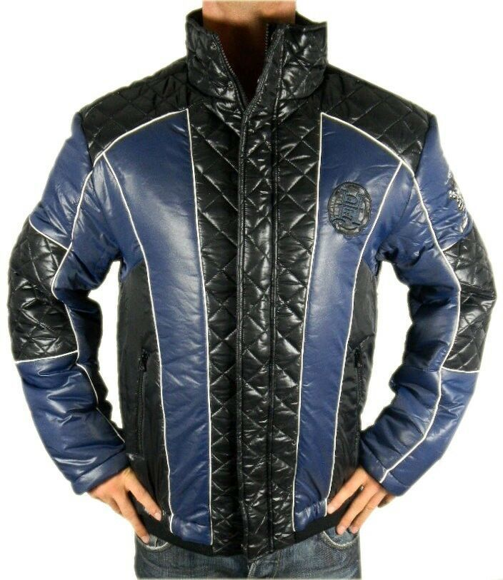 Ed Hardy By Christian Audigier Men's Premium Puffer Hot Nylon Jacket Blue