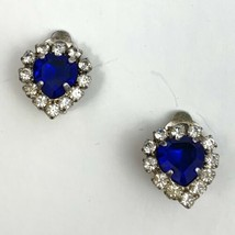 Lind Blue Clear Rhinestone Heart Clip On Earrings Vintage Signed 1998 Small - $17.77