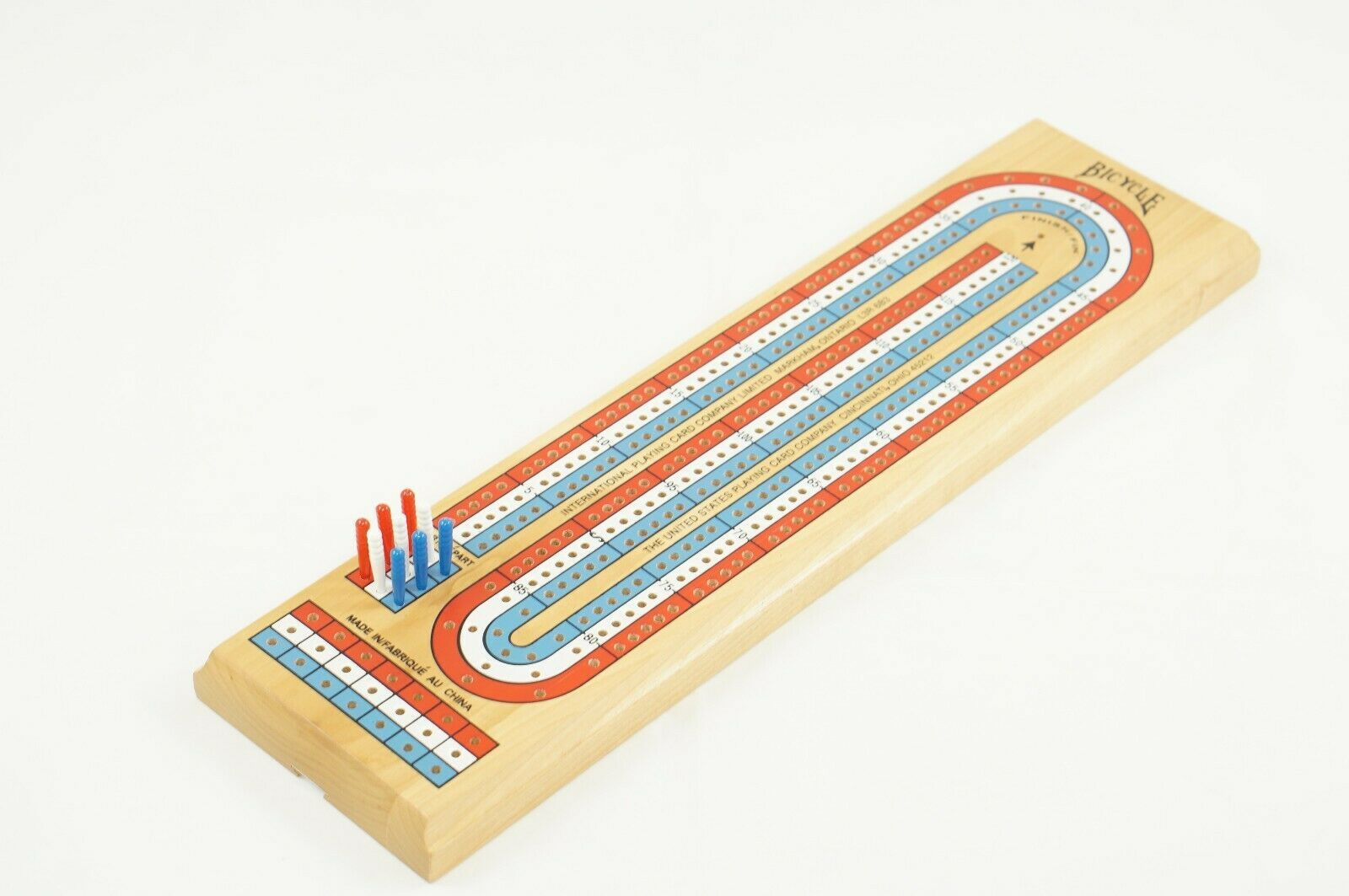 Primary image for Bicycle Three Player Wooden Cribbage Board With Pegs