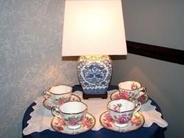 Vintage SET OF 4 ROYAL STANDARD Orleans Rose TEA CUPS SAUCERS Pink Roses... - $46.95