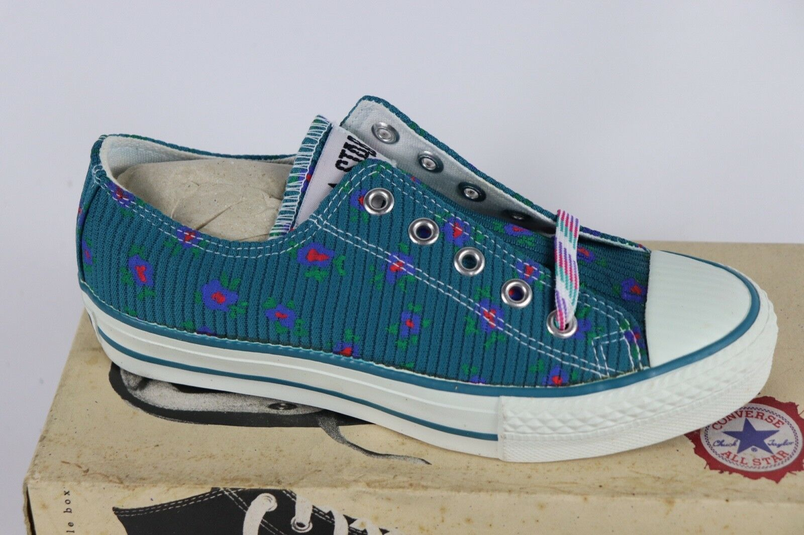 Vtg New Converse Mens 4 Wmns 6 Longjohn Print A/S Canvas Ox Chuck Taylor Shoes image 5