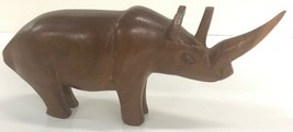Solid Wood Hand Carved Rhino - $23.36