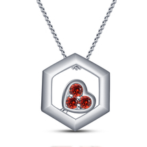 14k White Gold Finish 925 Silver 0.3CT Red Garnet Hexagen Pendant With C... - £36.51 GBP