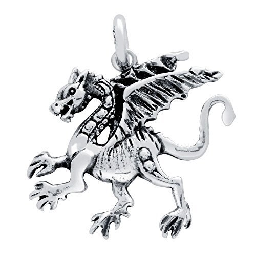 925 Sterling Silver Nickel Free Charms for Charm Bracelets (Dragon)