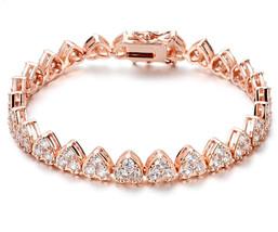 NYC Sterling 2MM Cubic Zirconia Women's Pave Heart Tennis Bracelet, 7.25... - $69.20