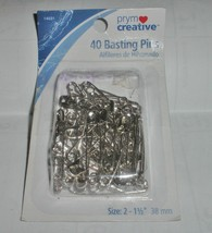 40 ct BASTING SAFETY PINS~PRYM CREATIVE~QUILTS~NICKEL PLATED STEEL~SIZE 2~ - £2.26 GBP