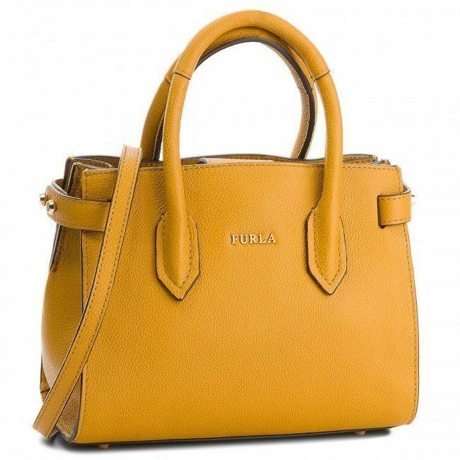 Woman handbag Furla Pin Small Tote yellow leather shoulder bag, ginestra new - $239.04