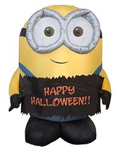 Gemmy Airblown Inflatable Bob The Minion Holding Happy Halloween Sign - Indoor O