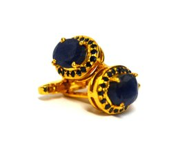925 Sterling Silver Natural Fine Quality Blue Sapphire Gemstone Gold Plated Arti image 2