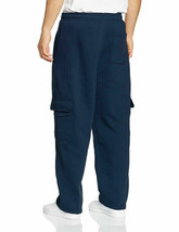 Mens Heavy Fleece Casual Plain Athletic Gym Sport Cargo Navy Sweatpants - M image 2