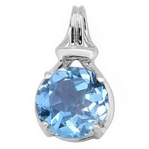 3.30 Carat Shining Blue Topaz Classic Gemstone Sterling Silver Pendant S... - $25.76